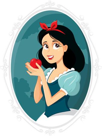 Snow White holding d'Apple Vector Illustration Vecteurs