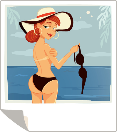 topless women: Topless Girl on a Beach Vector Cartoon