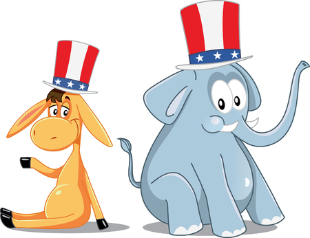 republican: Democrat Donkey and Republican Elephant Vector Election Cartoon