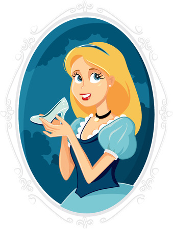 Princess Cinderella Holding Magic Shoe Vector Cartoon Illustration