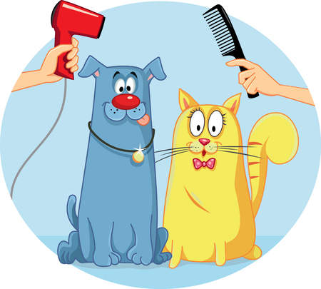 canine: Cat and Dog at Pet Salon Vector Cartoon Illustration
