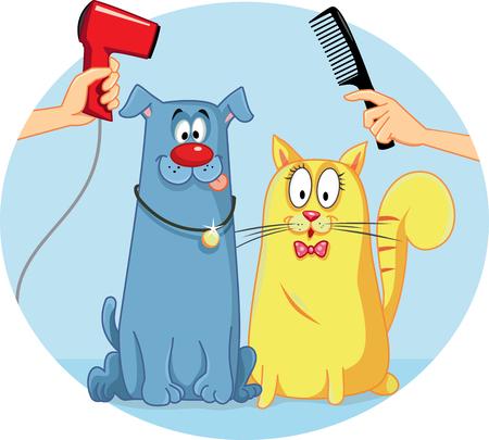 combing: Cat and Dog at Pet Salon Vector Cartoon Illustration