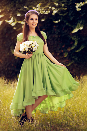 unmarried: Summer Fairy Girl with Flower Bouquet
