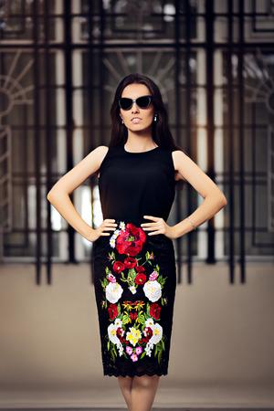 pencil skirt: Fabulous Fashionable Woman With Dark Sunglasses