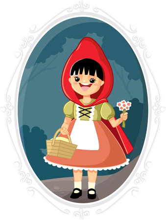 cartoon little red riding hood: Little Red Riding Hood Vector Cartoon Illustration