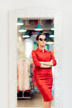 narcissist: Woman in Red Suit in Fashion Store