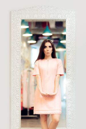 intrigued: Surprised Fashion Girl in Pink Dress