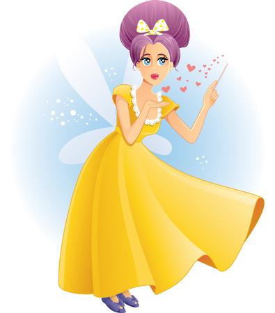 granting: Cute Fairy with Magic Wand Spreading Love Vector Cartoon