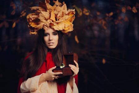 exquisite fairy: Autumn Woman Holding Treasure Box with Big Diamond