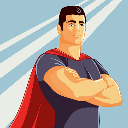 Superhero Vector Illustration in Comics Style Illustration