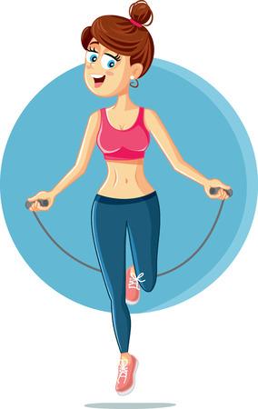 Fitness Girl Jumping Rope Vector Cartoon