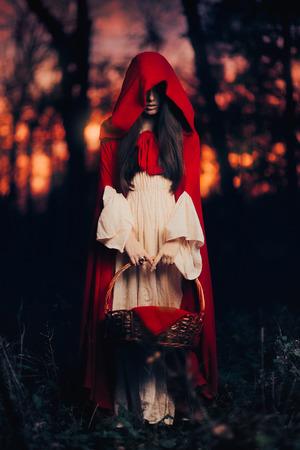 Tajemniczy Czerwony Kapturek w lesie Zdjęcie Seryjne