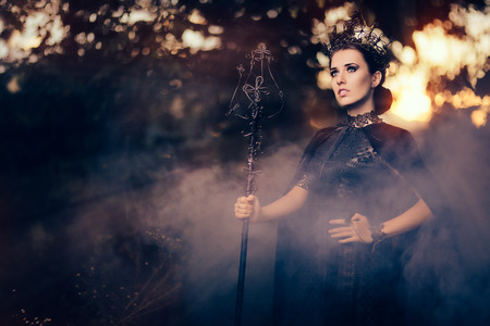 mislead: Evil Queen Holding Scepter in Misty Forest