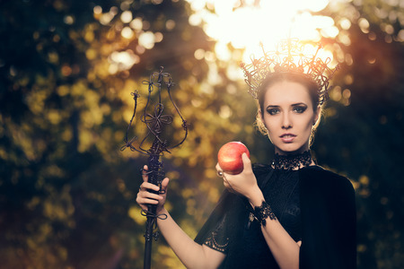 fictional character: Evil Queen with Poisoned  Apple in Fantasy Portrait