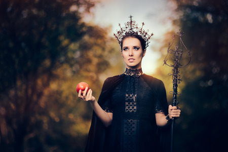 Evil Queen with Poisoned  Apple in Fantasy Portrait