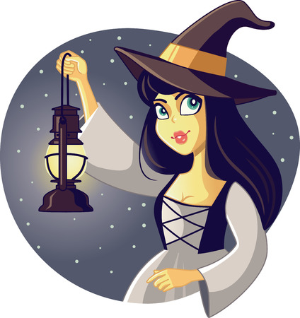 watcher: Beautiful Halloween Witch Holding Lantern Illustration