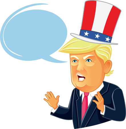 Editorial Caricature Donald Trump Cartoon with Speech Bubble