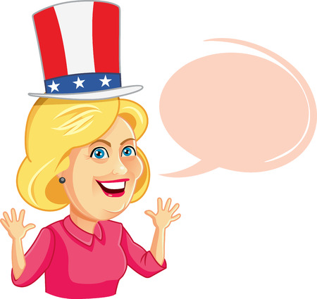 loose hair: Editorial Caricature of Hillary Clinton with Speech Bubble Editorial