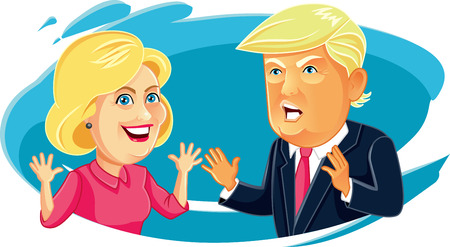 Editorial Caricature of Hillary Clinton and Donald Trump