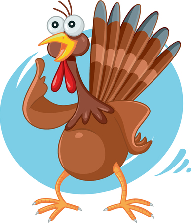 animal idiot: Scared Turkey Funny Vector Cartoon Illustration