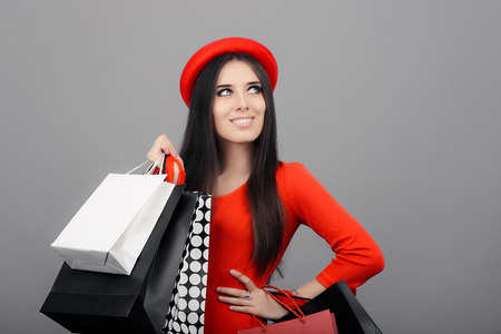 happy shopping: Happy Fashionable Woman with Shopping Bags Stock Photo