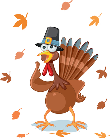 animal idiot: Thanksgiving Turkey Funny Vector Cartoon Illustration