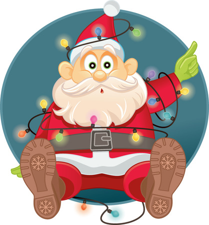 Funny Santa Tangled in Christmas Lights Vector
