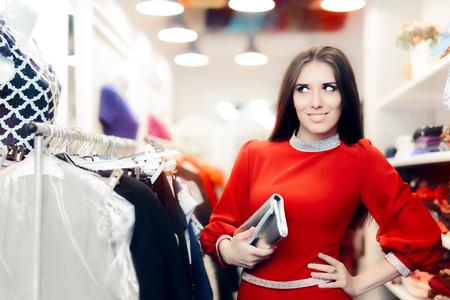 clutch bag: Fancy Elegant Woman with Silver Clutch Bag Shopping