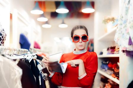 Fancy Elegant Woman with Silver Clutch Bag Shopping