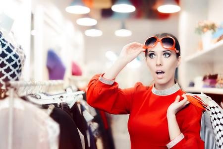 Surprised Elegant Woman Shopping in Fashion Store