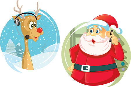 talking phone: Santa Claus and the Reindeer Talking on The Phone Vector