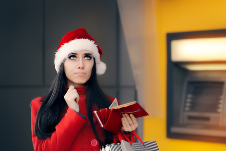 bankomat: Funny Christmas Woman Holding a Coin