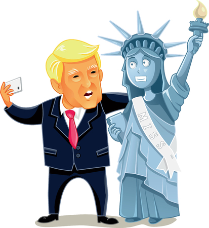 Donald Trump Taking a Selfie with the Statue of Liberty Editorial Cartoon