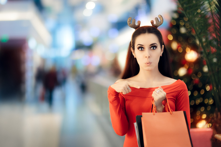 buying time: Funny Woman with Christmas Reindeer Horns Headband