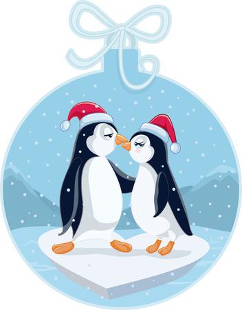 pinguinos navidenos: Pingüinos de la Navidad linda Kissing de la historieta del vector