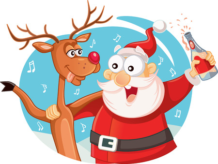 wasted: Santa Claus and his Reindeer Drinking and Celebrating Christmas Illustration