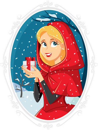 snow queen: Christmas Princess With Gift Box in Winter Outside
