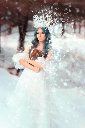 Snow Queen Holding Mirror in Winter Fantasy