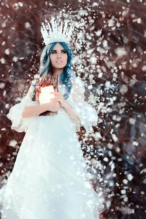 Snow Queen Holding Mirror in Winter Fantasy
