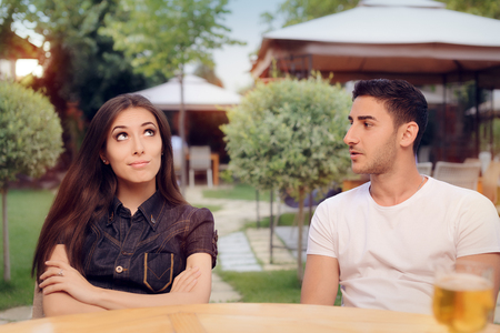 spousal: Couple Arguing on a Date at a Restaurant