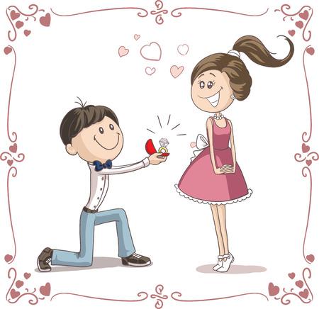 L'uomo Chiedere donna di sposarlo illustrazione del fumetto