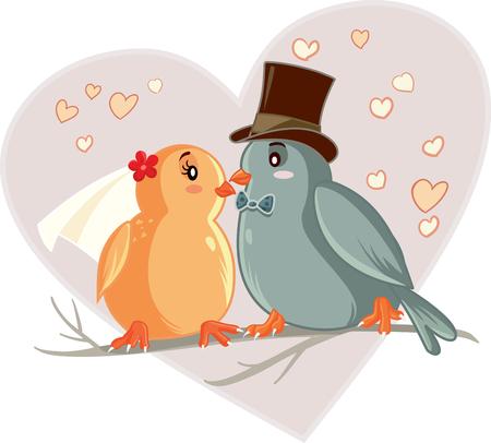 marrying: Love Birds Cartoon Vector Illustration