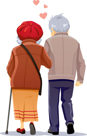 Old Couple in Love Walking Together Vector Illustration