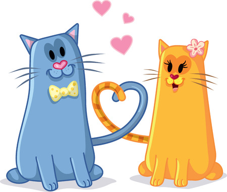 matchmaking: Cats in Love Vector Cartoon Illustration Illustration