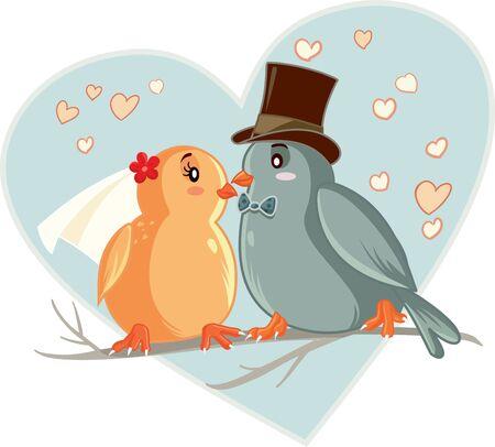 Lovebirds Vector Cartoon Wedding Invitation
