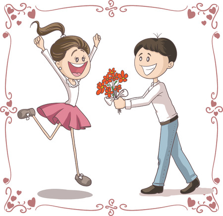 Man Brings Flowers to Shy Woman Vector Cartoon