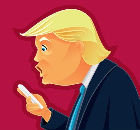 democracia: Donald Trump Comprobación de su editorial teléfono vector caricatura