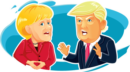 Editorial Caricature  of Angela Merkel and Donald Trump Editorial