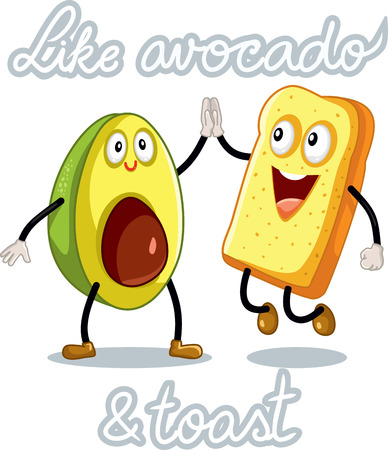 toasted: Avocado and Toast Funny Vector Characters Illustration