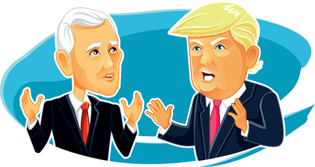 Mike Pence and Donald Trump Vector Editorial Caricature